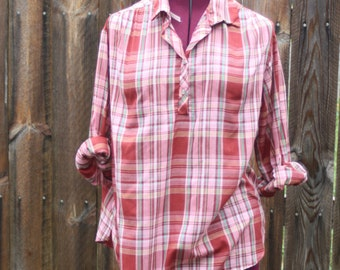 Vintage Red Plaid Top Shirt Accent 1970s