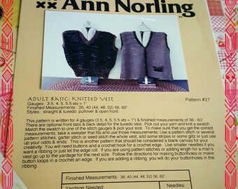 2000s Ann Norling Vests Knitting Sweater Pattern #27 OOP