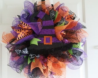 Purple Hat Halloween Mesh Wreath