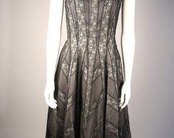 Couture 1950s Pleated French Lace Dress