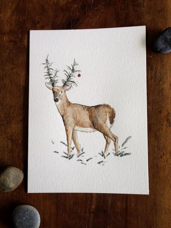 Howell Deer - 5x7 original watercolor illustration