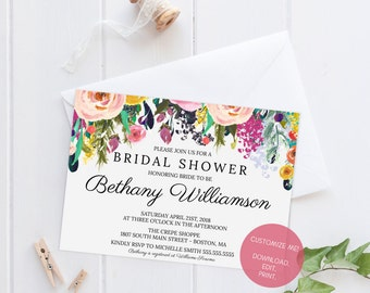 DIY Editable Bridal Shower Invitation | Customized Bridal Shower Invite | Instant Download Watercolor Floral Bridal Shower Invitation