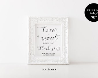 Love is Sweet Sign, Take a Treat Sign, Dessert Table Sign, Calligraphy, PDF, Wedding Refreshment Sign, Wedding Printable, MAM201_04