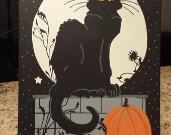 Halloween Chat Noir. Acrylic on canvas.