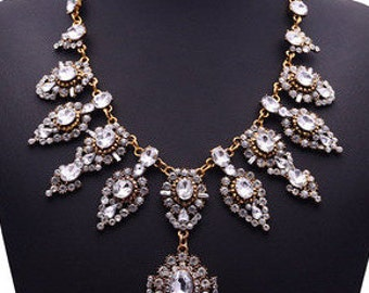 Vintage Style Crystal Floral Statement Necklace