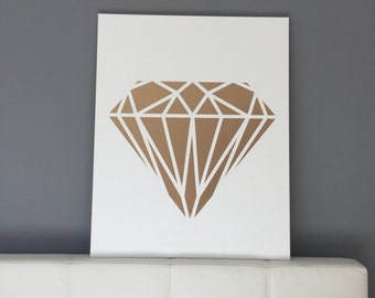 Gold geometric diamond on canvas