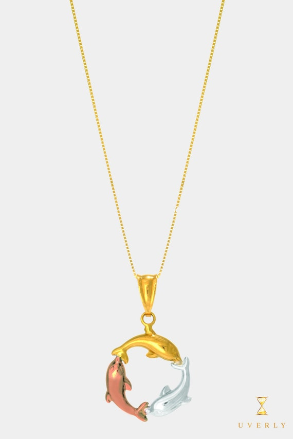 14k Solid Yellow White Rose  Gold Dolphins By The Sea Womens Charm Pendant Chain Necklace