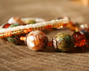 Three Strand Orange Beaded Bracelet, Orange Beaded Bracelet, Copper Beaded Bracelet, Seed Bead Bracelet, Multistrand Bracelet, Boho Bracelet