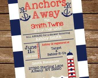 Twins Nautical Baby Shower Invite, Twins Baby Shower Invitation, Nautical Baby Shower invitation, Sailor baby shower invitation, Twin boys
