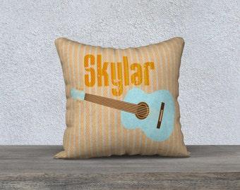 Guitar  pillow, Personalized pillow, nursery pillow, children's pillow