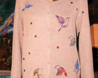 INTRODUCTORY PRICE Grey Cardigan/Sweater with Hand Printed Birds