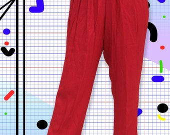 90's Lipstick Red High Waisted Pleated Pants