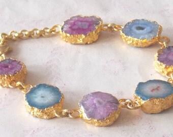 10% OFF Summer Sale Electroplated Natural Agate Slice druzy Bracelet, Fashion Bracelets / Chain Bracelet / Natural Bracelets (PJ02094PJ)