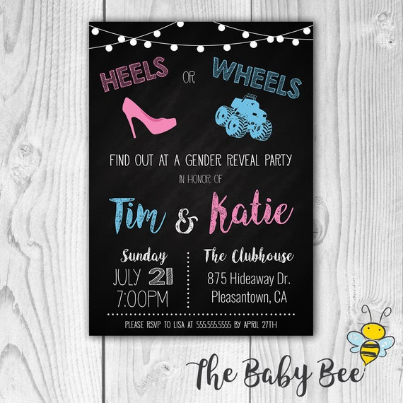 GENDER REVEAL INVITATION Heels or Wheels Chalkboard