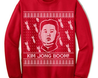 Kim Jong Boom Ugly Christmas Sweater. Ugly Sweater. Merry Christmas. Christmas Sweatshirt. Ugly Christmas Sweater. Party.