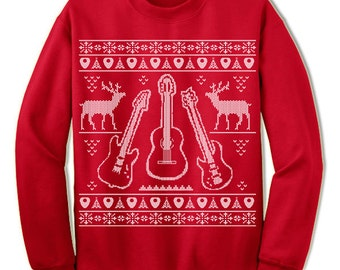 Guitar Ugly Christmas Sweater. Gift For Guitarist. Bassist. Ugly Sweater. Band. Merry Christmas. Sweatshirt. Ugly Christmas Sweater. Party.
