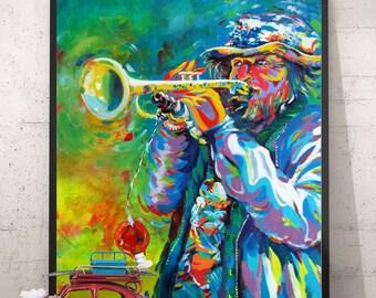 Homeless musician. Framed Print of original pop art painting. 16x20, 12x18