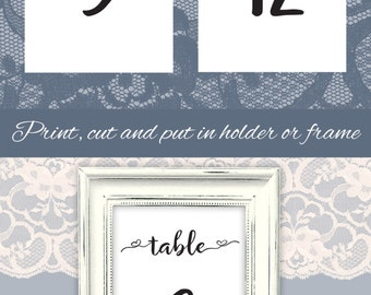 Printable Table numbers 4x6 DIY Wedding table numbers template 1-30 Instant download Design with heart Black and White Wedding