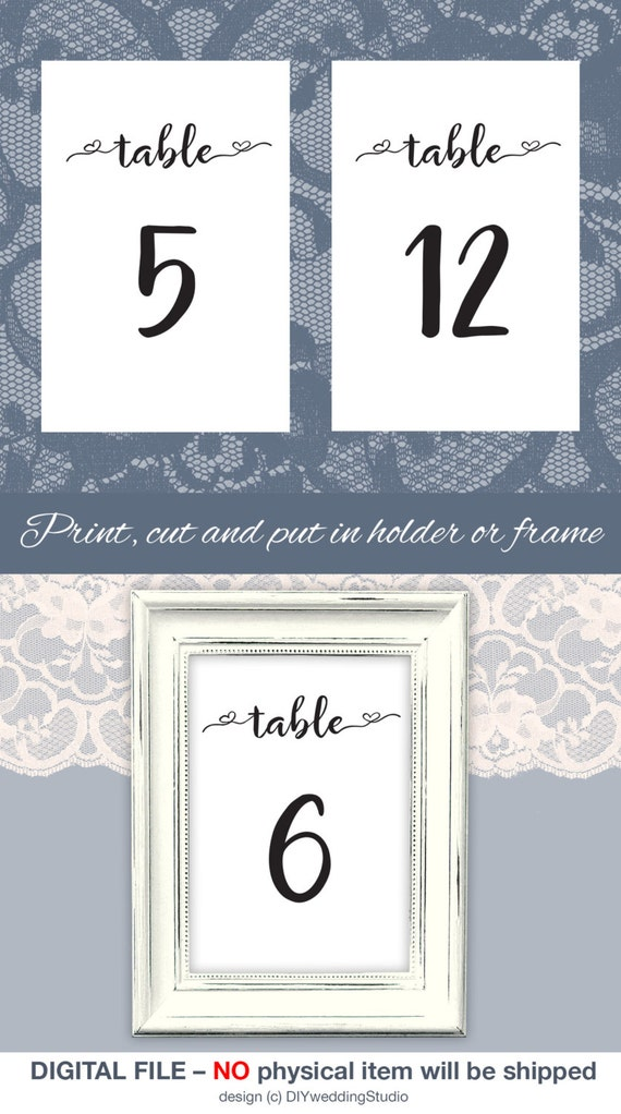Printable table numbers 4x6 diy wedding table numbers template for Table 52 number