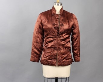 brown rayon quilted jacket . vintage Chinese jacket by Silver Lake . womens xs small