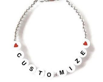 Handmade Jewelry bracelet, Personalized Bracelet, Beaded Letter Bracelet, Handmade Initial Bracelet, Custom Name Gifts