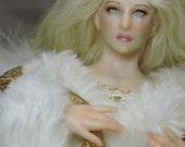 OOAK fantasy fairy Christmas tree topper mini white ANGEL art doll Kate Sjoberg