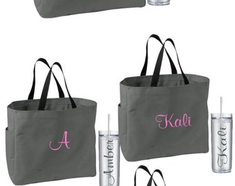 9 Personalized Bridesmaid Tote Bags and Tumblers, Bridesmaids Gifts, Bridal Party Gifts, Wedding Gift Sets, Monogrammed Totes and Tumblers