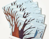 Blue Owl Postcard Set by boygirlparty - Retro Owl Postcards