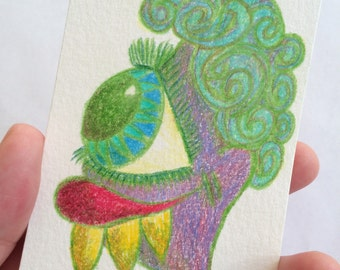 SALE - Original ACEO Collectible Card - Colored Pencil Sketch Monster Drawing - A Fabulous Dental Candidate