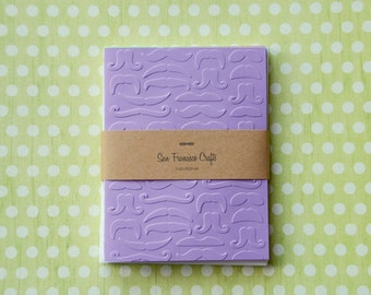 Mustache Blank Cards - Embossed Card Set - Set of 8 - no. 001