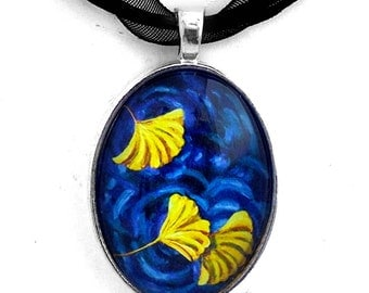 Gingko Necklace Ginkgo Leaves Yellow Blue Zen Water Art Pendant Handmade Jewelry