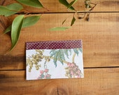 Fabric Postcard - Upcycled Collage - One of a kind - Multi coloured - French Vintage handpainted - botany