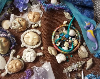 DIY Create your own, Art Dolls, Sea witch, Moon Goddess, Assemblage de-stash, clay faces, mearmaid blue kit