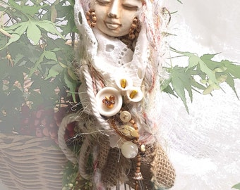 Rustic Wedding, Magic Whisk, Trendy Kitchen Witch, Wall decoration. OOAK art doll