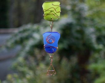 Wind Chime Colorful Glass Copper Brass Outdoor Windchimes
