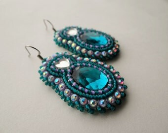 Turquoise and Lavender Beaded Earrings