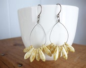 Caramel Glass Petal earrings, swingy, czech beads, light yellow ivory neutral