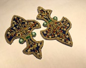 Fleur de Lis Embroidered Beaded Appliques Belly Dancing Sewing DIY Cosplay Renn Faire