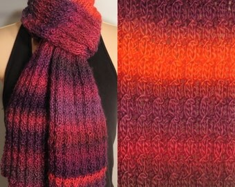 Hand Made Knit Scarf Acrylic Pink Purple Red Brown