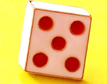 Lucky Dice Gambling Man Red and White Deluxe Enamel Pin