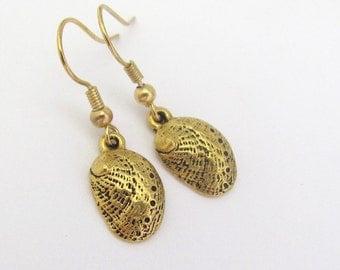 Shell Earrings, Abalone Shell Dangle Earrings, Antiqued Golden Earrings, Hawaiian Jewelry, Petite Dangle Earrings, Hawaii Beads Jewelry