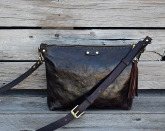 Small Brown Cross Body Bag / Zippered Handbag / Handmade Leather Purse / Dark Brown Leather Bag / Everyday Bag / READY TO SHIP