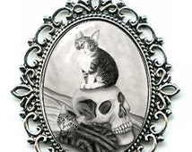 Witch's Kittens Necklace Vampire Skull Tabby Cat Drawing Kitten Cameo Pendant 40x30mm Gift for Cat Lovers Jewelry