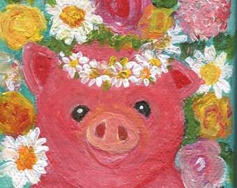 Pig mini canvas art, piglet mini canvas with Easel, baby pig, flowers acrylic painting canvas art, miniature art
