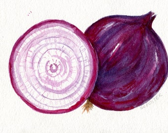 Purple Onions watercolor painting original, 5 x 7, garden art, watercolor kitchen, kitchen decor, culinary watercolor, art for kitchen