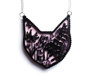 Cat Necklace ONE LEFT - Laser cut illustration - Acrylic and hand painted wood pink valentines gift