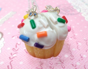 BFF Necklace Set: Best Friend Cupcake Necklaces, Best Friend Necklaces, Miniature Food Jewelry, Polymer Clay Food Necklace