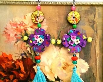 Senorita Earrings, Purple, Yellow, Blue Tassels, Boho Earrings, Large Earrings, Flower Earrings
