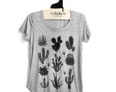 SALE Large - Heather Gray Scoop Neck Slub Tee with Cactus Screen Print