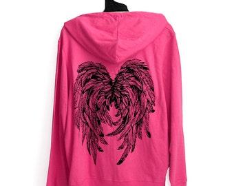 XL Womens Pink Hooded Zip Up Lightweight Hoodie with Angel Wings
